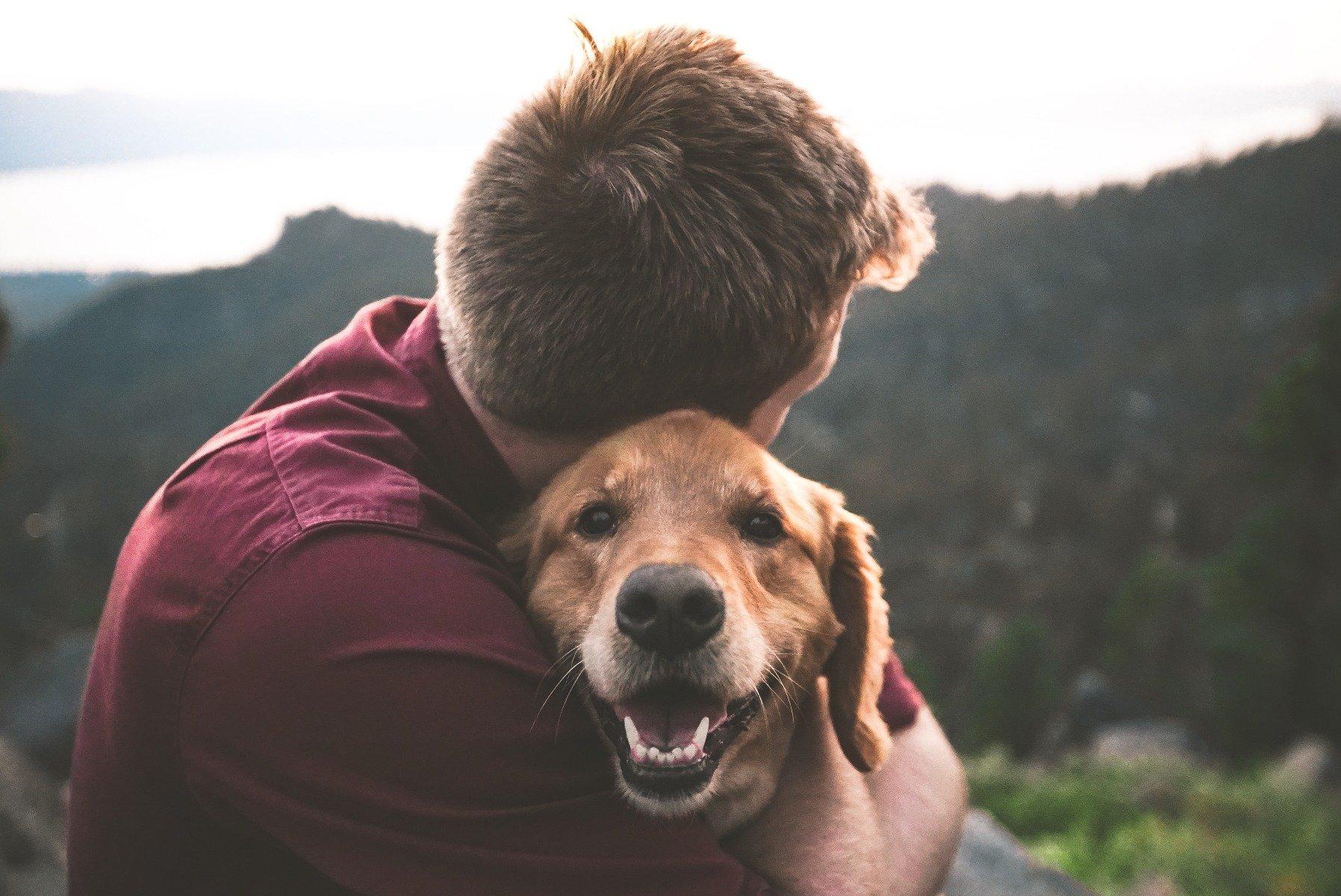 Herrchen hält Hund im Arm, bergige Landschaft im Hintergrund
