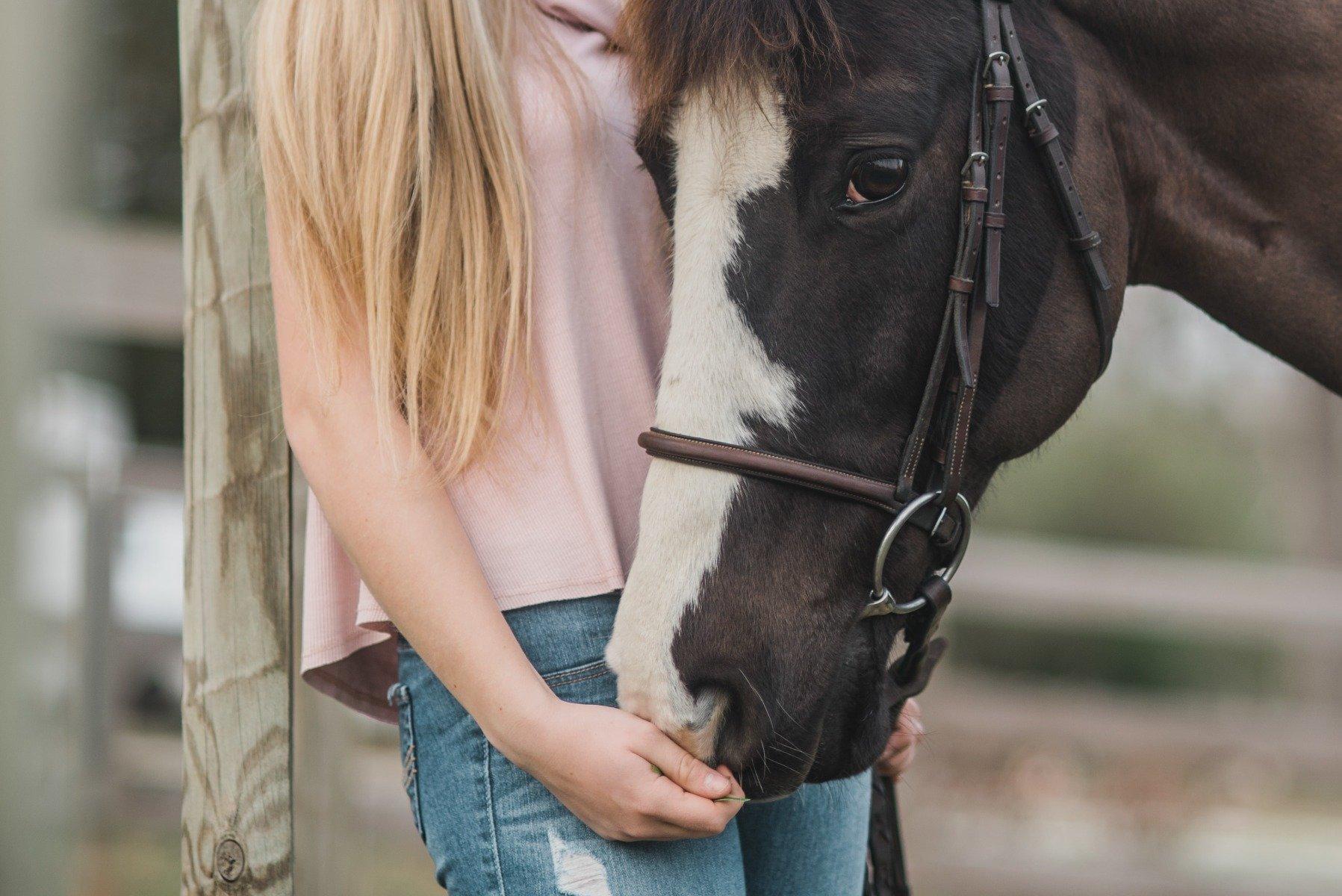 Reiterin streichelt ihr Pferd